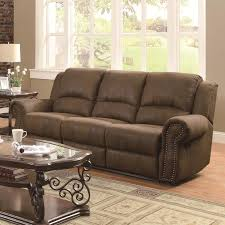 Microfiber Reclining Sofa Sets Brown Microfiber Upholstered Reclining Sofa With Nailhead Studs By