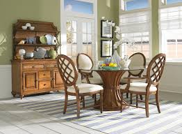 Round Dining Table With Glass Top Two Glass Legs Combined With Rectangle Glass Top And White Chairs