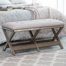 belham living cushioned indoor bedroom bench with mirrored frame