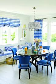 coastal living dining room quadrille hingham plaid curtains and shade