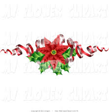 clip art of a christmas decoration of a blooming red poinsettia