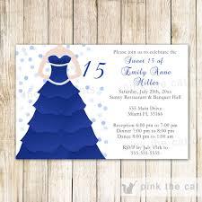 Sweet 16 Invitation Cards Dress Invitation Bridal Shower Sweet 15 16 Royal Blue U2013 Pink The Cat