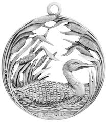 loon along the shore pewter ornament made in usa