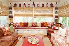 ikea throw pillows Sunroom Beach with bamboo blinds bamboo shades