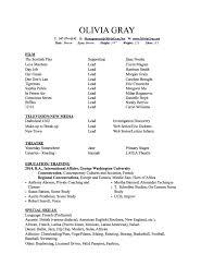 George Washington Resume Olivia Gray Olivia Gray Actress Resume