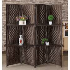 room divider screen display shelf partition rattan shelving deco