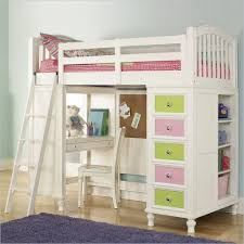 loft bed with desk white carpet ladder combined study table beside