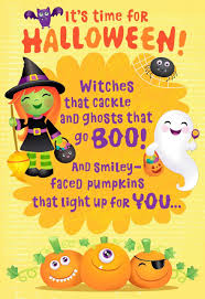 frightfully sweet witches and ghosts halloween card greeting
