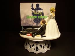 gamer wedding cake topper call of duty modern war 3 mw3 and groom