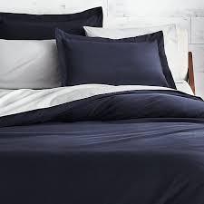 brushed navy blue flannel bedding cb2