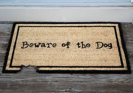 amazon com kempf beware of the dog doormat rubber backed 18 by