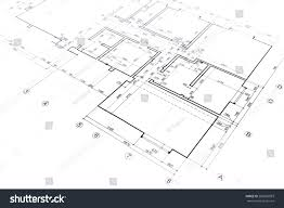 house plan blueprint architectural drawing part stock photo
