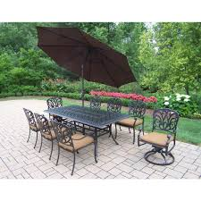 Rectangular Patio Umbrella Sunbrella by Oakland Living Cast Aluminum 9 Piece Rectangular Patio Dining Set