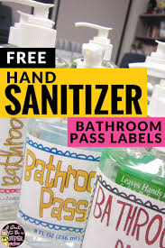 Bathroom Pass Ideas Sanitizer Bathroom Passes Free Labels Bathroom Pass