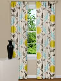 Blue And Yellow Kitchen Curtains by Modern Floral Curtains In Thomas Paul Dahlia Flowers Aegean