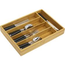 Bamboo Silverware Holder 6 Compartment Cutlery Tray Walmart Com