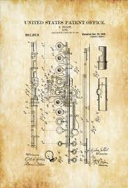 Music Decor by 1908 Flute Patent Patent Print Wall Decor Music Poster Music
