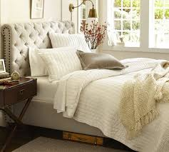 Pottery Barn Sleigh Bed Chesterfield Upholstered Queen Bed Polyester Wrapped Cushions