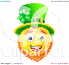 clipart of a 3d yellow st patricks day leprechaun smiley emoji