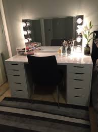 diy makeup vanity ikea alex drawers with a glossy laminate top