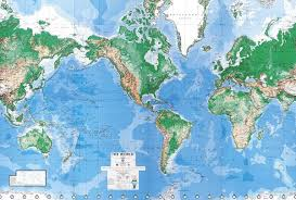 World Physical Map by Environmental Graphics World Physical Mural Map Paper Dura Globes