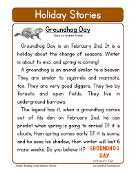 groundhog reading comprehension worksheet