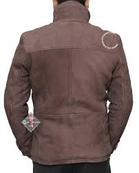 Bench Rain Jacket Mens Distressed Shearling Lining Brown Leather Jacket