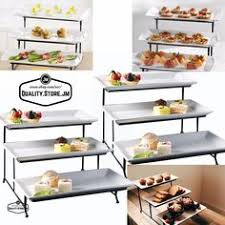 3 piece server set includes 2 tier metal server and two white