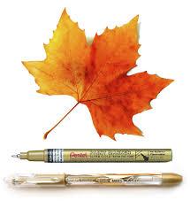 pentel blog aunt peaches metallic ink leaves