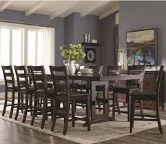 11 piece counter height table and ladder back chair set by coaster