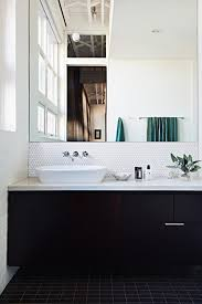 bathroom tiles black and white white stained wooden wall mounted