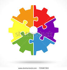 Cmyk Color Spectrum Puzzle Illustration Printing Color Wheel Different Colors Stock Vector