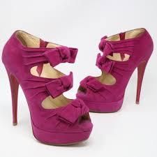 christian louboutin madame butterfly bootie heels sz 38 5 magenta