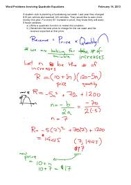 quadratic function word problems worksheet free worksheets library