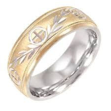 8mm ring men s cross and vine pattern 8mm ring in 10kt gold and sterling