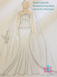 design my own wedding dress chiffon and lace appliqués on a translucent corset wedding gown
