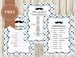 Free Baby Shower Scramble Games - free mustache baby shower games baby shower ideas themes games