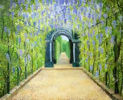 an oil painting on canvas of a romantic garden walkway forming