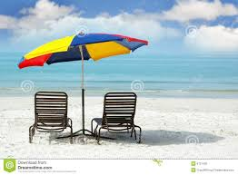 Beach Umbrella And Chairs Wooden Chairs And Colorful Umbrella On Beach Royalty Free Stock