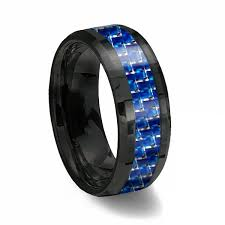 thin line wedding ring 8mm black tungsten ring with blue white line carbon fiber