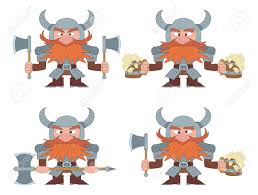 funny beer cartoon dwarfs warriors in armor and helmets standing with beer mugs