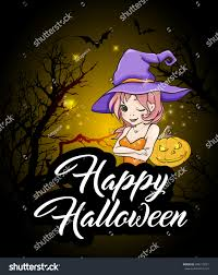 cute young witch pumpkin halloween greeting stock vector 496119721