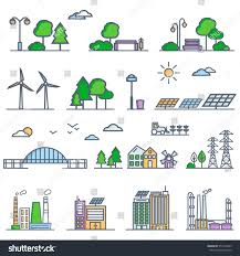 eco city linear style solar panels stock vector 577454245