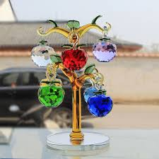 glass apple tree ornaments with 8pcs hanging faceted apples