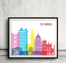 columbus pop art skyline fine art print glicee poster decor home