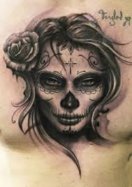 awesome grey ink day of the dead tattoo on chest tattoos book