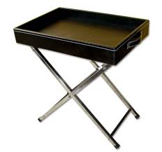 butler u0027s tray table with stainless steel legs leather furniture