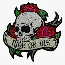 or die skull with roses biker nc patches