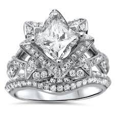 lotus flower engagement ring noori 14k gold 2 1 10ct tdw princess cut diamond enhanced lotus
