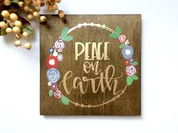 peace on earth wood sign wood floral sign christmas sign zoom